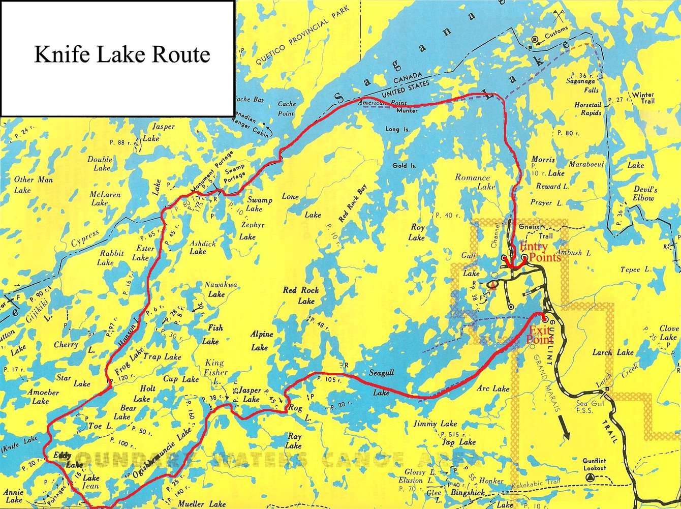 Knife Lake Route Clearwater Historic Lodge - Bwca entry point map